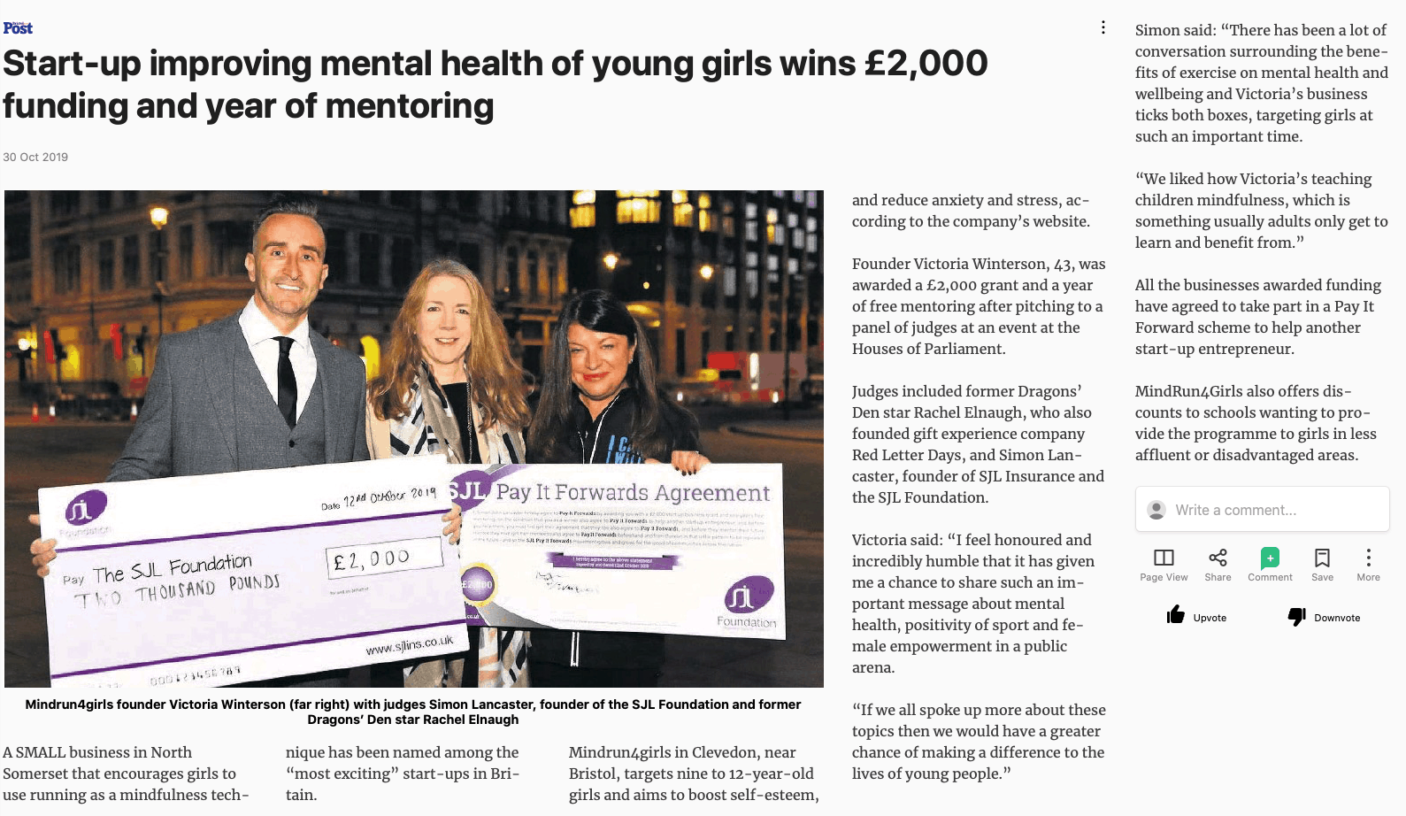Start-up improving mental health of young girls wins SJL Foundation funding and year of mentoring