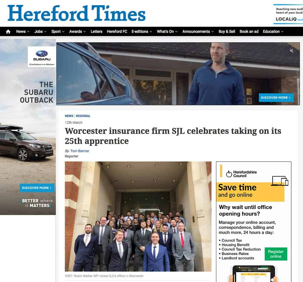 Appreticeships-SJL-Insurance-Hereford-Times