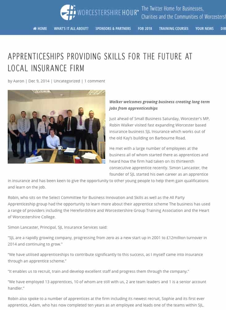 Local-Insurance-Firm-Apprenticeships-SJL-Insurance-Worcestershire-Hour