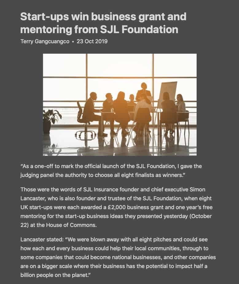 Start-ups win business grant and mentoring from SJL Foundation