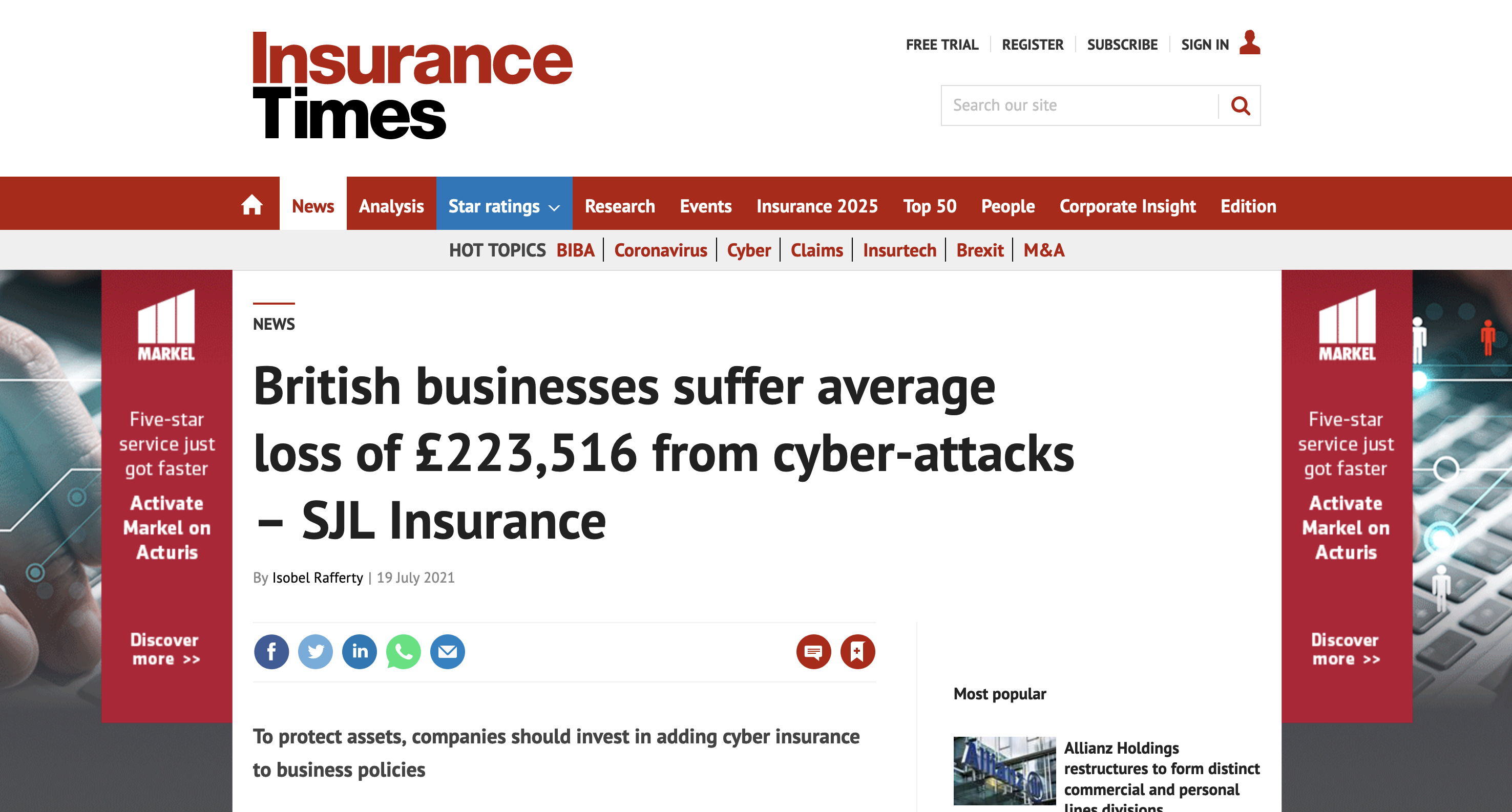Insurance Times news article cyber-attack
